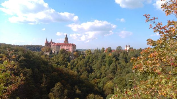Ksiaz Castle from afar by JWBeyond