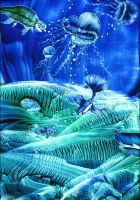 Aquarius Deep Blue Encaustic by Villa-Chinchilla