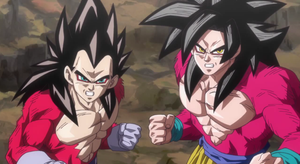 Goku SSJ4 And vegeta SSJ4- by DBHeroes