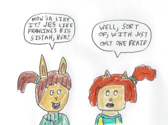 Ladonna and Sue Ellen with ponytail hairdos by dth1971