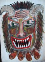 Mummer mask - painting, 1997 by toshko