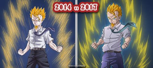 [Dragon Ball] draw this again 2014 vs 2017 by Okashy