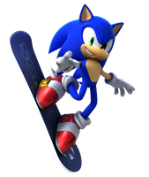 Sonic Snowboarding Render (Transparent) by alsyouri2001
