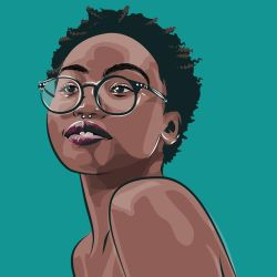 black sassy girl with glasses by dccanim