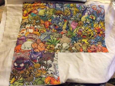 Pokemon cross stitch WIP by fangy89