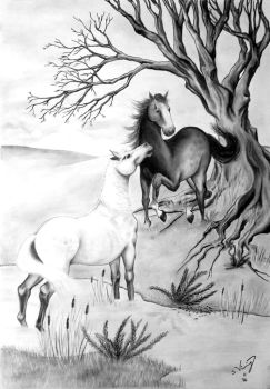 Two Horses and the Old Tree by Wyrdafell