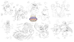 PMTAB Sketch ~ All Chapter Bosses by Zieghost