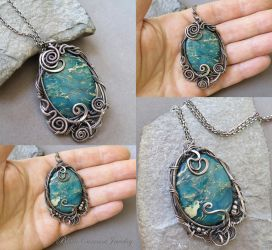 Ocean Jasper and Sterling Silver Two Sided Pendant by blackcurrantjewelry
