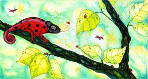 chamaeleon visit ladybugs by dragonflywatercolors