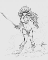 Another Red Sonja Sketch by RandyGreen