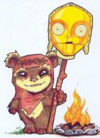 Chibi-Wicket and C3PO. by hedbonstudios