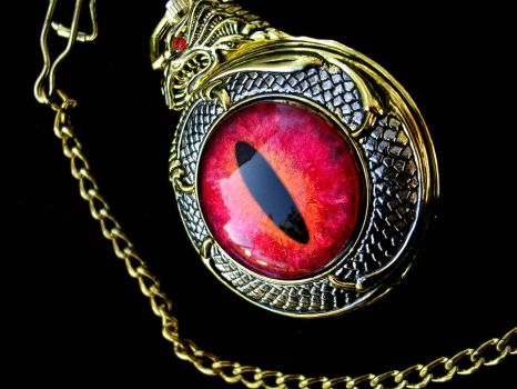 Dragon's Slave - Pocket Watch Fire And Flame by LadyPirotessa