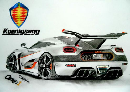 Koenigsegg Agera One:1 Pencil drawing. by Neveramez