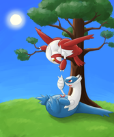 Latios and Latias Chillin' [Commission] by Rabid-Fangirl212