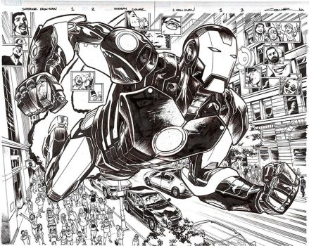 Superior Iron Man Issue 1 double spread by Cinar
