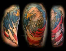 American Bald Eagle Half sleeve tattoo by All-Wolff