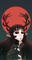 Red Moon Deer by The-NoiseMaker