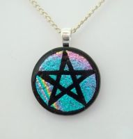 Teal Pentacle Fused Glass Pendant by HoneyCatJewelry