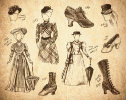 Steampunk Fashion Sketches by SKOpseudonym