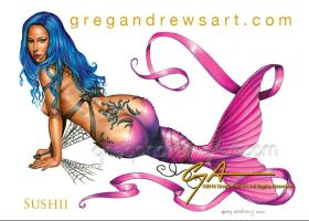 SUSHII. fantasy pinup mermaid by Greg Andrews by Greg-Andrews-Art