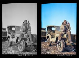 Photographer Nick Parrino on the jeep which he rod by jecinci