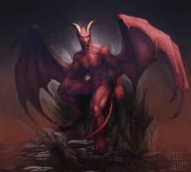 Commission: Red Demon by AltaGrin