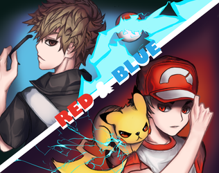 Pokemon - Red and Blue VS the challenger by Hiro-Arts