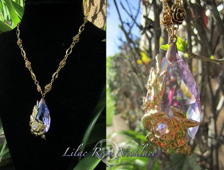 Lilac Rose Necklace by Firefly-Path