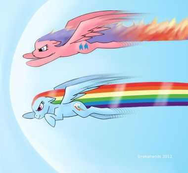 MLP Firefly and Rainbow Dash race by snakehands