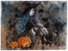Day 31. Inktober 2017- Halloween witch by ARiA-Illustration