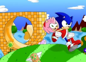 Sonic and Amy visit Green Hill by Retro-Eternity