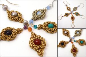 Chainmaille earring selection by MermaidsTreasury