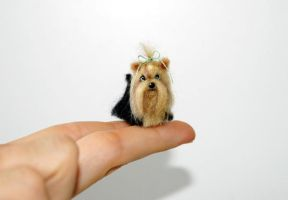 OOAK Needle felted Tiny Yorkie by amber-rose-creations