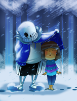 undertale_sans and frisk by pink-ninja