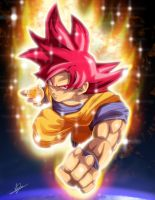 Super Saiyan God Goku by BlueAlacrity