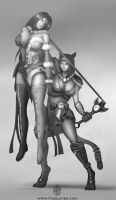 commission - Hel and Bastet by FASSLAYER