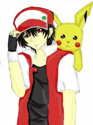 Trainer Red And His Beloved Pikachu by earnestrosalia