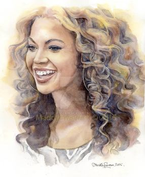 Beyonce, watercolour by MaddySwan