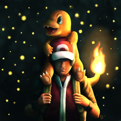 Red and Charmander by Cid-Moreira12