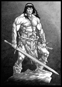 Conan the Cimmerian 2014 bw by RubusTheBarbarian