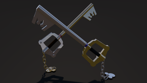Keyblade 3D Render - Mickey and Sora's Keyblades 1 by HaakonHawk