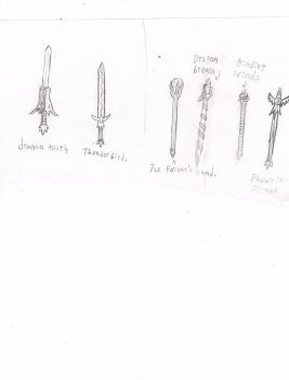 some weapons swords and staffs by SecretBoss88