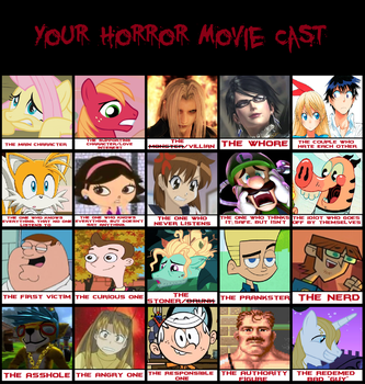 My Take on Horror Movie Cast Meme by SomePkmn-LovingDude