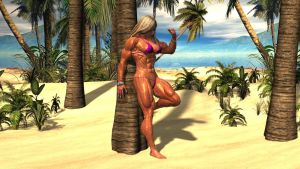 Muscle babe at the beach by plinius