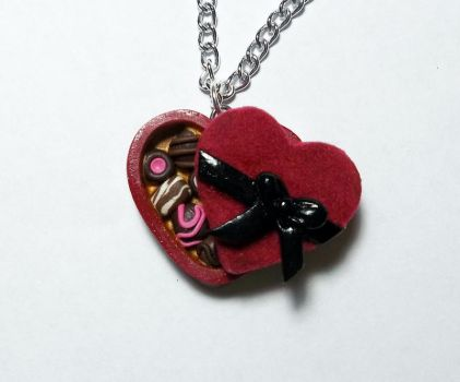 Polymer Clay Heart Box of Chocolates Pendant by CraftMuse