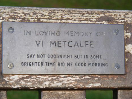 close up of a memorial bench by hitch436