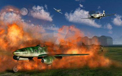 P-51 Mustangs ,Attacking A German Airfield. by MasPix