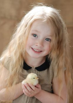 Little girl with chicken_2 by anastasiya-landa