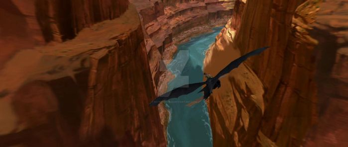 Hiccup And Toothless Flying Through Cavern by ROTBTFDfan22