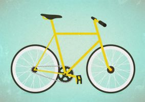 Yellow Flat Bike With Grain Texture by superawesomevectors
